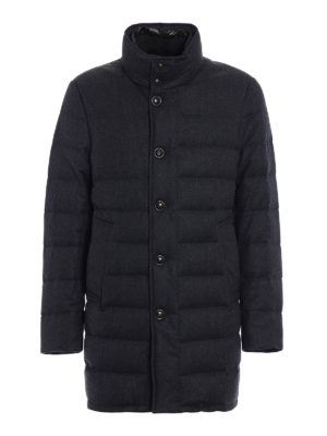 Moncler: padded coats - Vallier grey wool padded coat