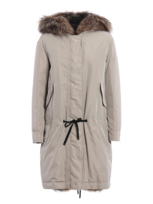 Moncler: padded coats - Veronika fur trimmed padded parka