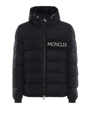 MONCLER: giacche imbottite - Piumino nero Aiton con logo ricamato
