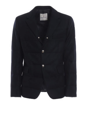 MONCLER: giacche imbottite - Blazer imbottito Regor in panno di lana blu