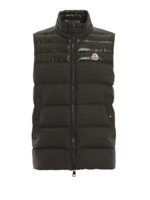 MONCLER: giacche imbottite - Gilet piuma Deneb color muschio