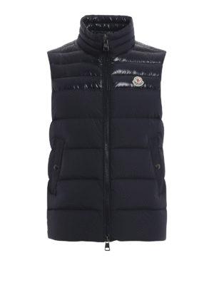 MONCLER: giacche imbottite - Gilet piuma Deneb color blu scuro