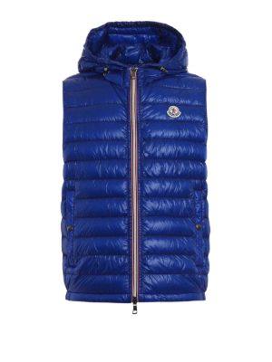 Moncler: padded jackets - Gien sleeveless hooded blue jacket
