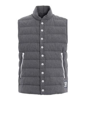 Moncler: padded jackets - Grey seersucker cotton padded vest