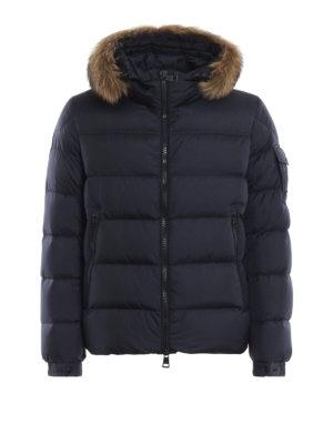 MONCLER: giacche imbottite - Piumino corto Marque con bordo di pelliccia