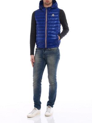 Moncler: padded jackets online - Gien sleeveless hooded blue jacket