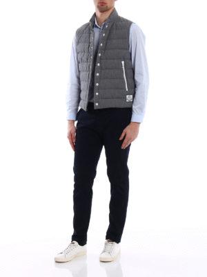 Moncler: padded jackets online - Grey seersucker cotton padded vest