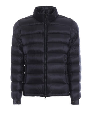 MONCLER: giacche imbottite - Piumino Rodez blu con cappuccio nascosto