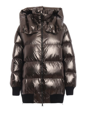 MONCLER: giacche imbottite - Piumino Verdier in nylon lucido metallizzato