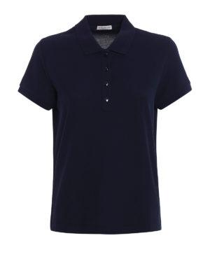 Moncler: polo shirts - Blue navy pique polo shirt
