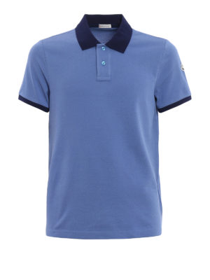 Moncler: polo shirts - Contrasting collar cotton polo