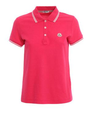 Moncler: polo shirts - Contrasting trim pique polo