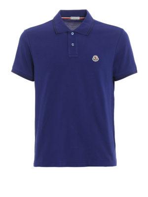 Moncler: polo shirts - Cotton striped collar polo shirt