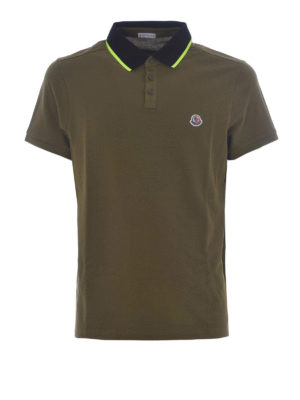 Moncler: polo shirts - Fluo collar green cotton polo shirt