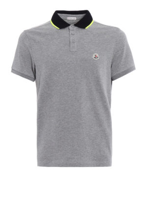 Moncler: polo shirts - Fluo detail cotton polo shirt