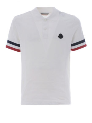 Moncler: polo shirts - Iconic Moncler stripes white polo