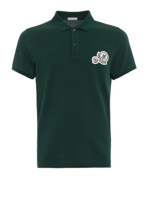Moncler: polo shirts - Logo chest patch green polo shirt
