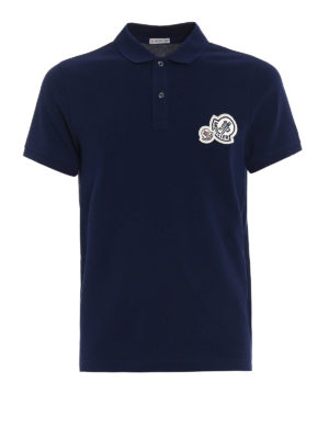 Moncler: polo shirts - Logo chest patch navy polo shirt