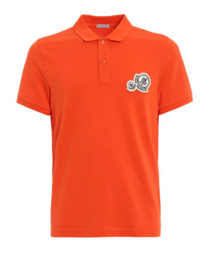 Moncler: polo shirts - Logo chest patch orange polo shirt