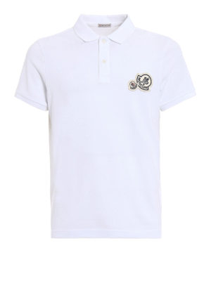 Moncler: polo shirts - Logo chest patch white polo shirt
