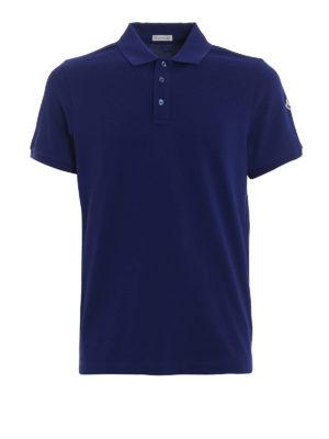 MONCLER: polo - Polo in cotone blu con logo