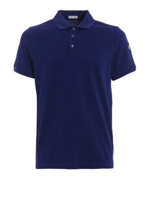 Moncler: polo shirts - Logo detailed blue polo shirt