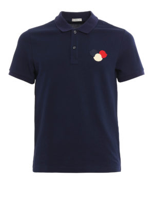 Moncler: polo shirts - Logo patch cotton pique polo shirt
