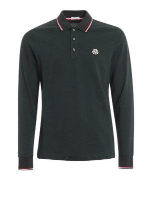 Moncler: polo shirts - Long sleeved cotton polo shirt