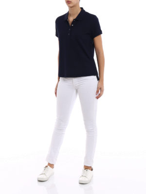Moncler: polo shirts online - Blue navy pique polo shirt