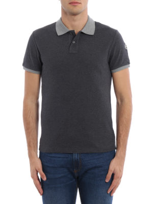 Moncler: polo shirts online - Contrasting collar and cuffs polo