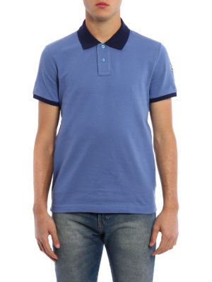 Moncler: polo shirts online - Contrasting collar cotton polo