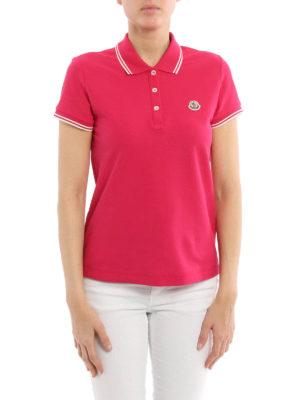 Moncler: polo shirts online - Contrasting trim pique polo
