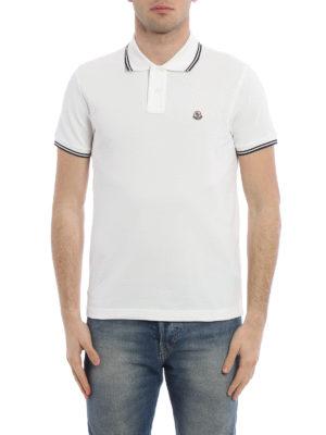 Moncler: polo shirts online - Cotton striped collar polo shirt