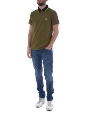 Moncler: polo shirts online - Fluo collar green cotton polo shirt