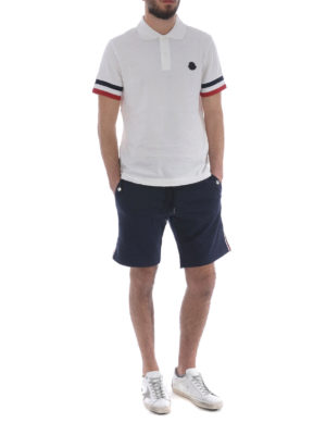 Moncler: polo shirts online - Iconic Moncler stripes white polo