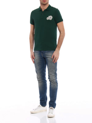 Moncler: polo shirts online - Logo chest patch green polo shirt