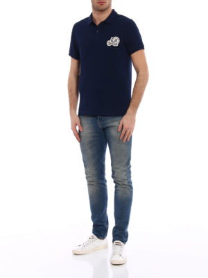 Moncler: polo shirts online - Logo chest patch navy polo shirt