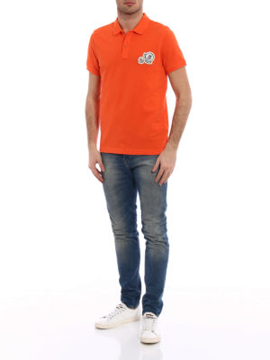 Moncler: polo shirts online - Logo chest patch orange polo shirt