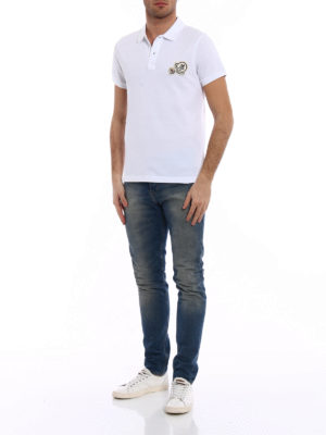 Moncler: polo shirts online - Logo chest patch white polo shirt
