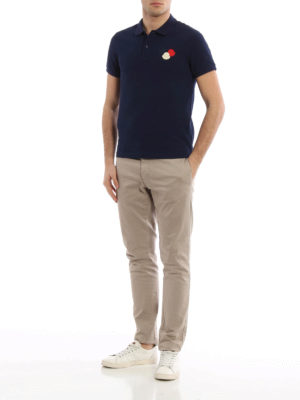 Moncler: polo shirts online - Logo patch cotton pique polo shirt
