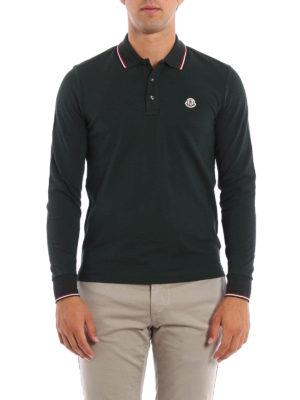 Moncler: polo shirts online - Long sleeved cotton polo shirt
