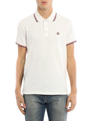 Moncler: polo shirts online - Off white cotton pique polo shirt