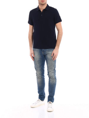 Moncler: polo shirts online - Total navy blue polo shirt