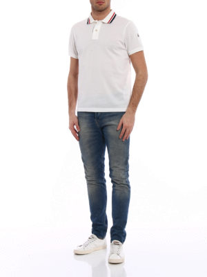 Moncler: polo shirts online - Tricolour collar cotton polo shirt