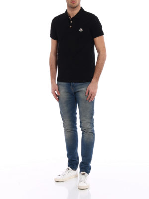 Moncler: polo shirts online - Tricolour placket black polo shirt