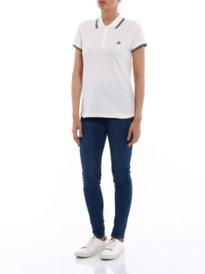 Moncler: polo shirts online - White polo with striped piping