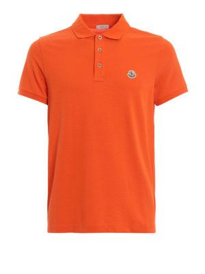 add89ab0 MONCLER: polo - Polo in cotone piqué arancione