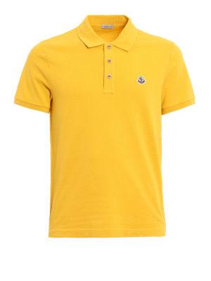 Moncler: polo shirts - Plain cotton pique polo shirt
