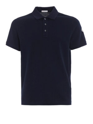 Moncler: polo shirts - Total navy blue polo shirt