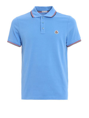 Moncler: polo shirts - Tricolour detail polo shirt